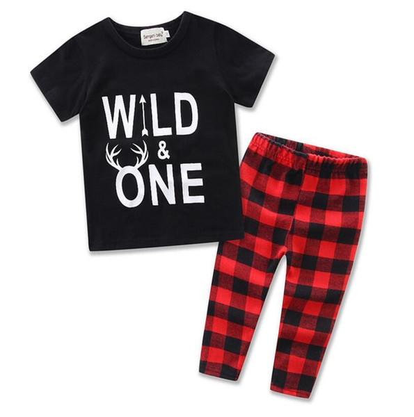 Hot 2019 Baby Boys South Korea Cotton Cartoon Clothing Set,Kids hoody t shirt +Pants fashion plaid 2Pcs Boy Clothes Suit