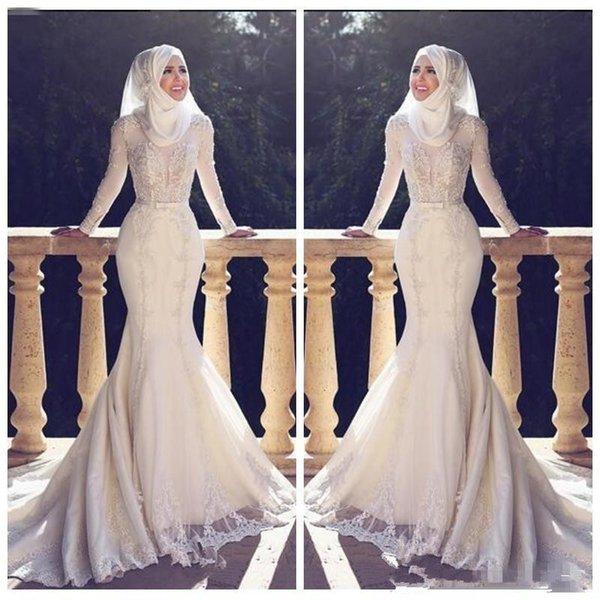 Modest Slim Fishtail Arabic Style Mermaid Wedding Dresses Long Sleeves Lace Applique O Neck Hijab trumpetLong Bridal Gowns Muslim