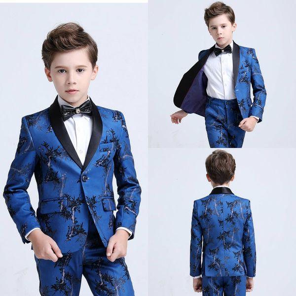 Erkek Smokin Erkek Yemeği Takım Elbise Erkek Resmi Takım Elbise Çocuklar için Smokin Smokin Resmi Amaçlar Çiçek Baskı Küçük Erkekler Için Üç Adet