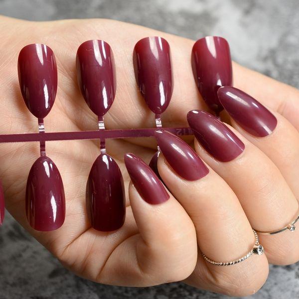 Compre Color Verdadero A La Moda Uñas Falsas Jujube Rojo Oscuro Estilete Presione En Las Uñas Consejos De Manicura Diy Envoltura Completa Muchos