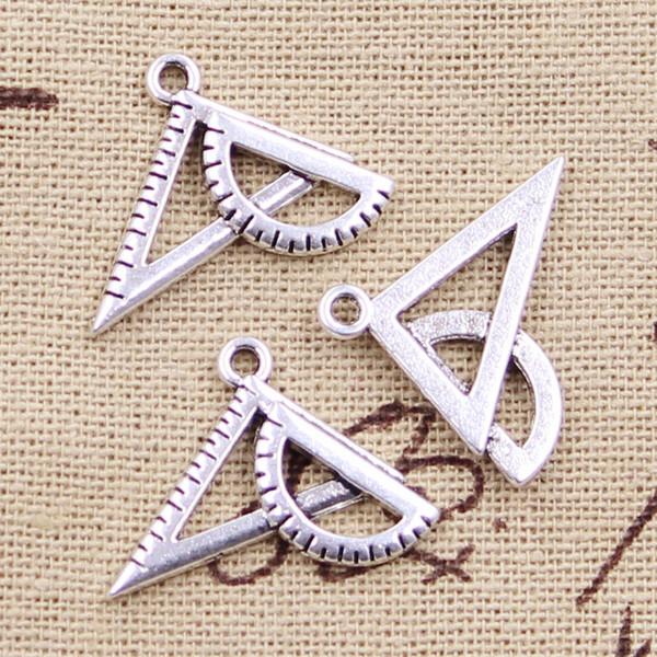 20pcs Charms righello triangolo triangolare 19 * 24mm argento antico pendenti artigianali fai da te che fanno risultati fatti a mano gioielli tibetani
