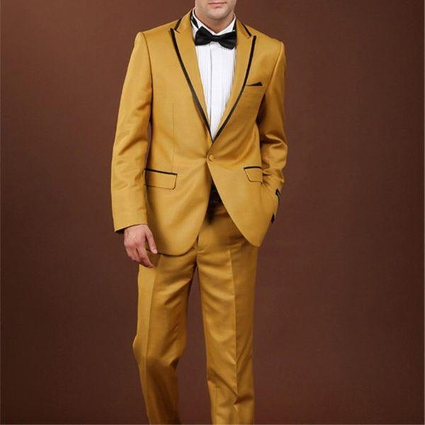 Men's suit men's single buckle gun collar collar fashion casual suit two-piece suit (jacket + pants) men's ball party dress support custom