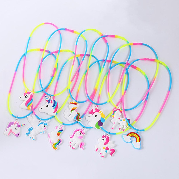 Rainbow Unicorn Pendant Necklaces Rubber Toys Birthday Party Children Girls Best Friend Friendshipe Chain Jewelry Accessories