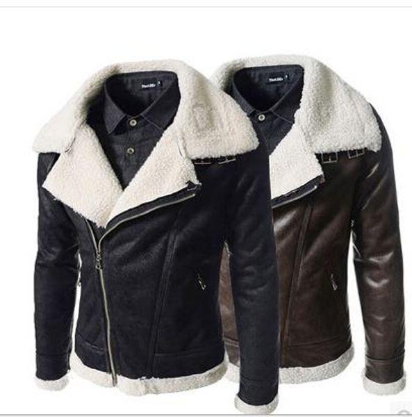 best selling Black Brown Faux Leather Motorcycle Jacket Mens Fashion Men's coat Winter Leather Jacket Faux Fur Slim Fit Leather Jackets For Men