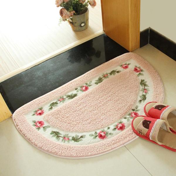 Semicircle Non Slip Water Absorption Door Mat Floormat Soft Plush Carpet Floor Entrance Mat for Bathroom Living Room Bedroom