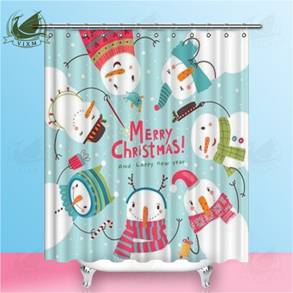 Vixm Merry Christmas Curious Christmas Snowman Shower Curtains American style Waterproof Polyester Fabric Hanging Curtains For Home Decor