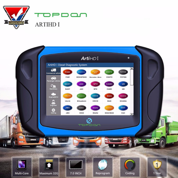 Topdon ArtiHD I Automotive Diagnostic Scan Tool for Heavy Duty and Commercial Vehicles with ECU Reprogram/Calibration