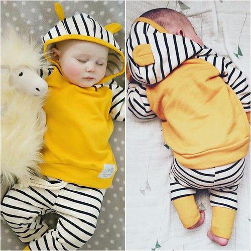Newborn Toddler Kids Baby Boys Girls Outfits Clothes T-shirt Tops Hooded Striped + Pants Casual Clothing 2PCS Set Baby Boy Girl Y190515