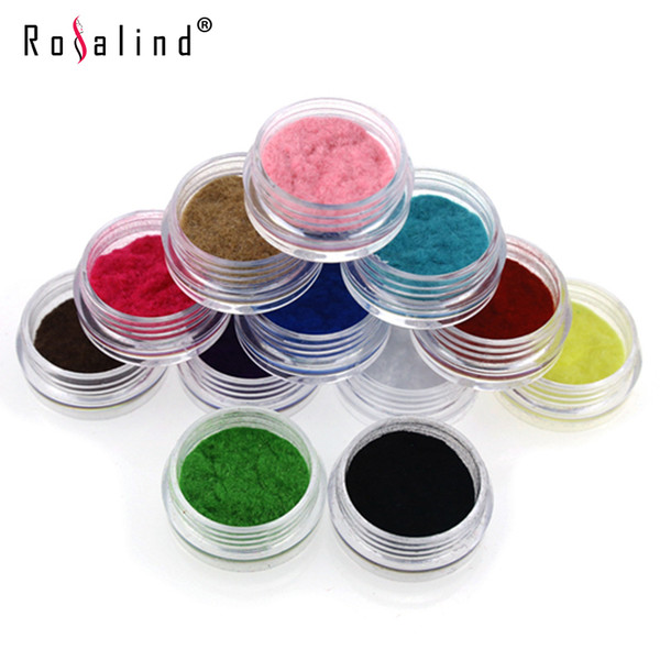 Atacado 12 Pçs / set Rosalind 12 Cores Veludo Flocking Pó De Veludo Manicure Nail Art Dicas Polonês Strass Decoração Beleza