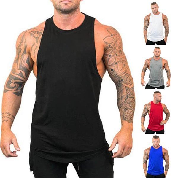 Männer Sommer New Fashion Solid Sleeveless Fitt Sport Top Bluse Sport Weste Baumwolle + Polyester Fitness Weste neue 731