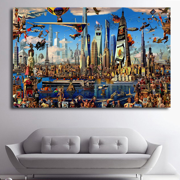 1 Panel Vintage Fantasy Cartoon City Dream Many Leading Flags Art Print Poster Abstract Wall Picture Canvas Painting No Framed