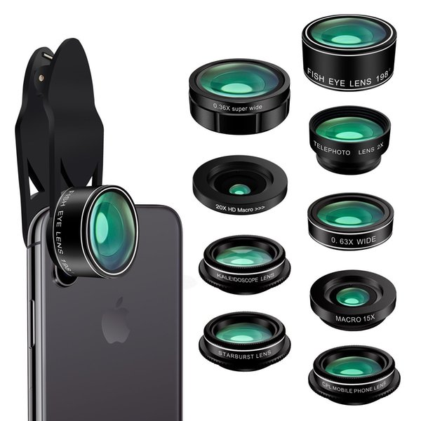 Mobile lens (including packaging) new nine-in-one fish-eye wide-angle micro-zoom CPL starlight six-point lens