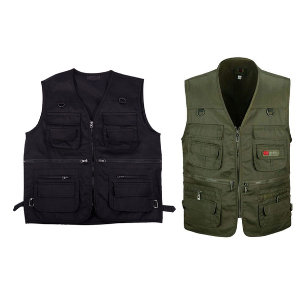 2 pcs men's fishing vest with multi-pocket zip for pgraphy / hunting / travel outdoor sport xl - black & army green thumbnail
