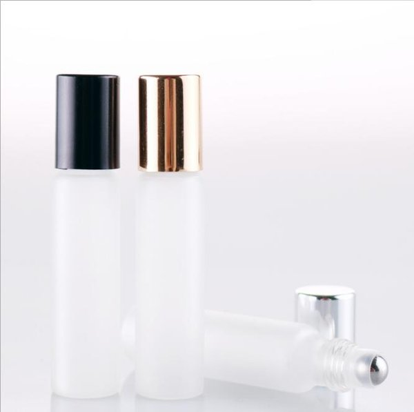 wholesale 10ml Frosted Glass Essential Oil Roller Bottles Transparent Stainless steel Roll On Bottle Cosmetic Container