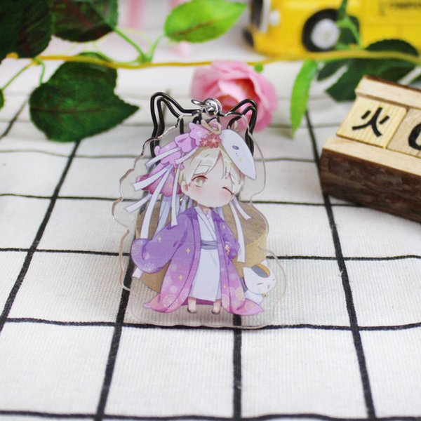 Cute Japanese Anime Cat Teacher Badge Acrylic keychains key ring Natsume's Book of Friends Kids Toys