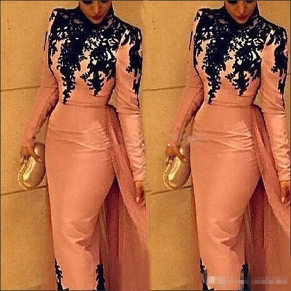 2019 Pink Long Sleeves High Neck Evening Dresses with Overskirt Tulle Chiffon Black Lace Applique Custom Made Formal Occasion Wear