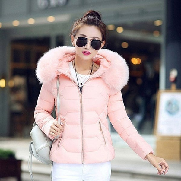 Cuello alto de piel de imitación de las mujeres Chaqueta de algodón chaquetas de algodón de moda femenina acolchado de algodón gran cuello de piel con capucha
