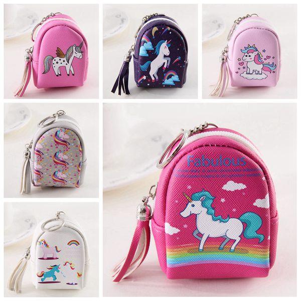 Unicorno portamonete portachiavi con cerniera piccola borsa fumetto decorazione portachiavi PU accessori borsa in pelle moda carino mini borsa bambini