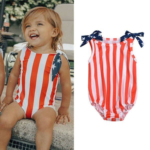 Girls Swimwear Children One-piece Swimsuit Striped Swimwear Stars Strap Shoulder Strap American Flag Independence National Day USA 4th July