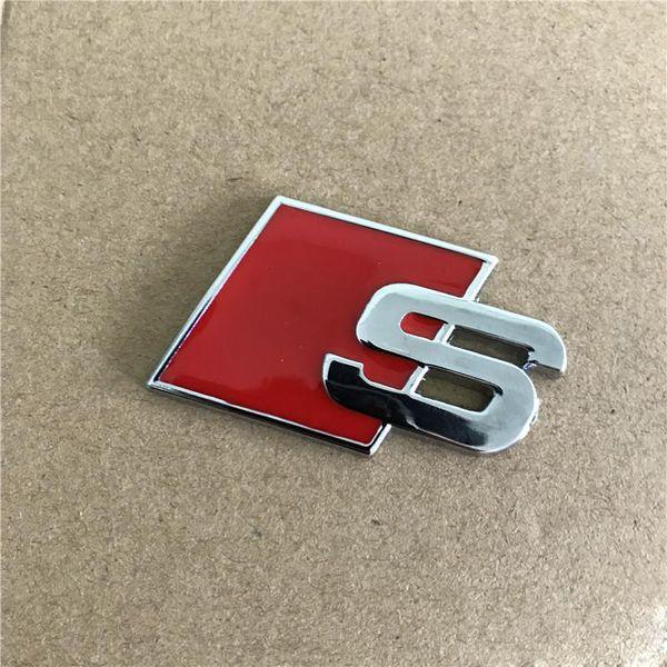 100 stücke Metall S Logo Sline Emblem Abzeichen Auto Aufkleber Rot Schwarz Vorne Hinten Kofferraum Tür Seite Fit Für Audi Quattro VW TT SQ5 S6 S7 A4 Accessori