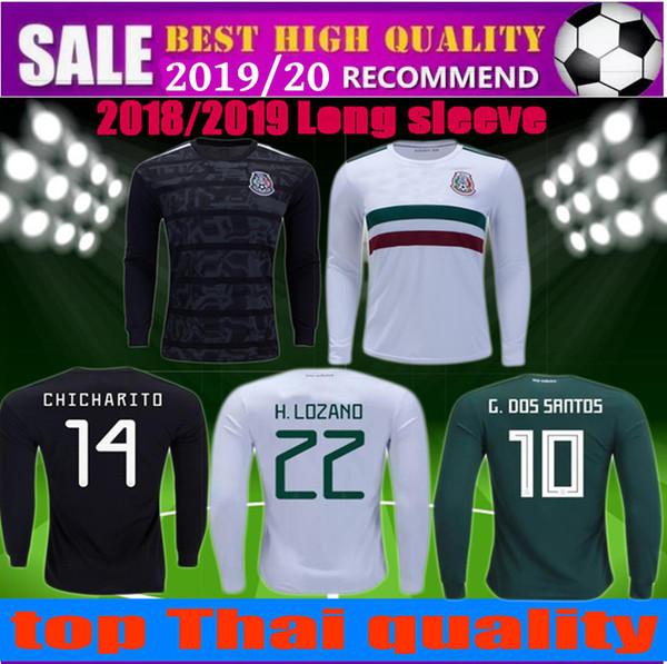 Gold Cup 2020.2019 Gold Cup 2019 2020 Mexico Long Sleeve Soccer Jersey 2018 Chicharito G Dos Santos M Layun A Guardado C Vela Football Shirts Camisetas From