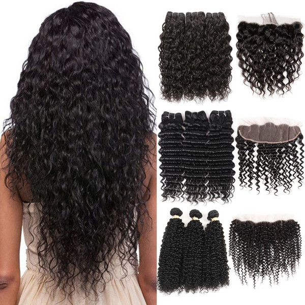 8A Mink Brazilian Virgin Hair Deep Wave 3 Bundles with Frontal Natural Color Top Lace Frontal Closure with Baby Hair Water Wave Kinky Curly