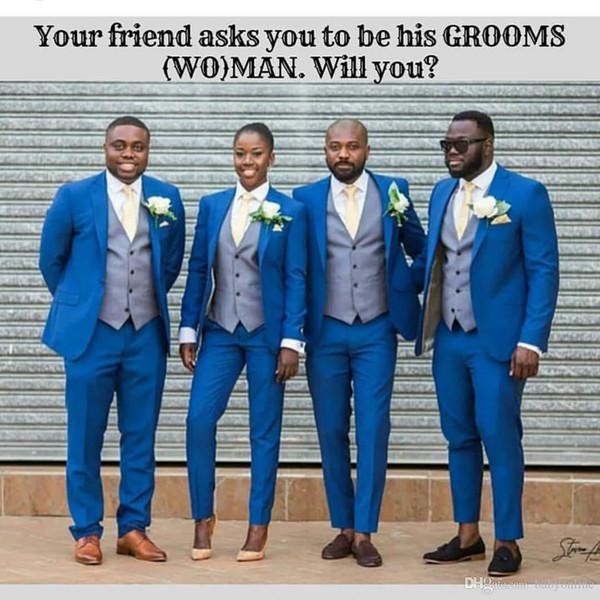 Modern Bestman Suits Grooms Men Formal Wedding Tuxedos Groom Wear Bridegrom Groomsmen Blazer Jacket Best Men Wear(Top+Pants+Vest+Jacket)