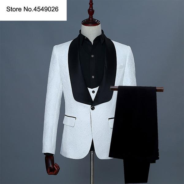 3 Pieces Shawl Lapel Man Suit Groom Wedding Men's Blazer Groomsmen Suits With Jacket Vest Pants Tie 3 Colors Red Pink White