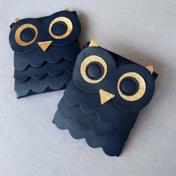 Cheap Cute Girls Small Coin Change Purse Wallet Childrens Wallet Money Holder Owl Cotton Bags Pouch Kids Gift Dark Blue FA$1