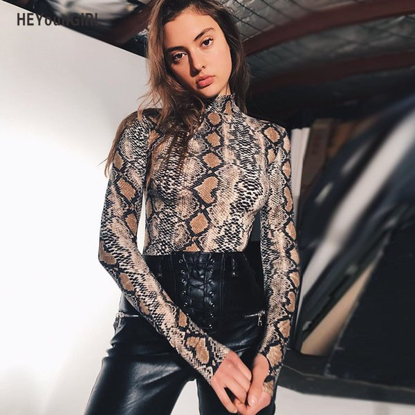 Heyoungirl Winter Autumn Women Bodysuit Sexy Turtleneck Body Suits Long Sleeve Skinny Snake Casual Print Bodycon Playsuit Q190507
