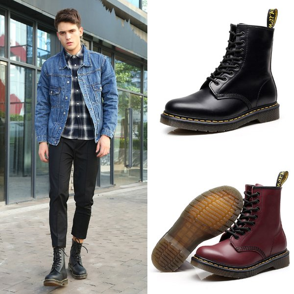 Человек моды Мартин сапоги британский стиль большого размера мягкой кожи круглый носок шнуровке мотоцикла лодыжки пинетки 6 цветов