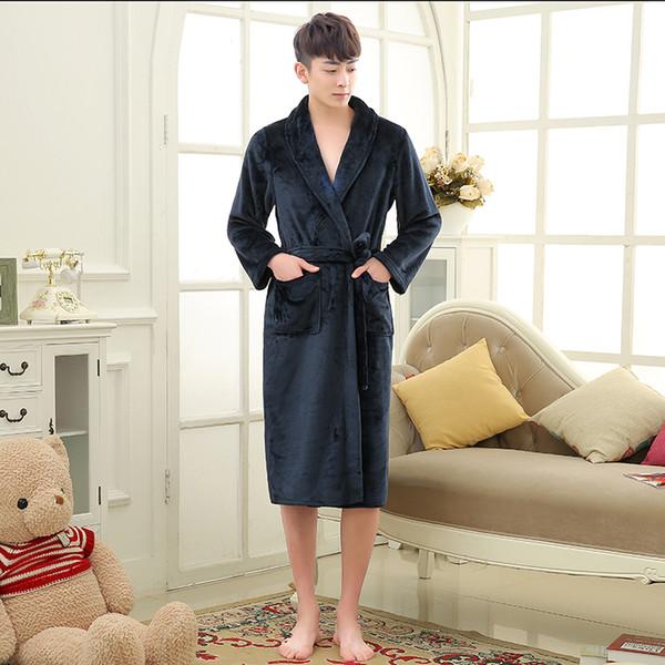 Yeni Geliş Aşıklar Lüks İpek Fanila Kış Uzun Bornoz Erkek Kimono Banyo Robe Erkekler Kadınlar Gece Kıyafeti Erkek Bornozlar Giyinme