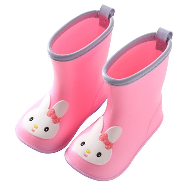 Arloneet Ochildren's Rubber Boots Kids Boots Pvc Baby Girls Jelly Cute Bowknot Rain Shoes Waterproof Buckle Ankle Boots L0920 Y19051602