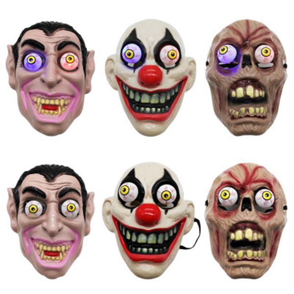 Levou Máscara Halloween Horror Luz para o palhaço vampiro Eye Mask Tema Maquiagem Desempenho Masquerade Party Full Face Cosplay ZZA1144 Máscara
