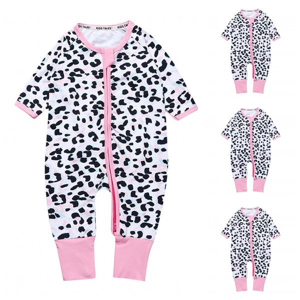 Baby Girls Rompers Jumpsuits Sleepsuit Bodysuit INS Hot Sale Leopard Printed Long Sleeve With Zipper Long Pants Jumpsuit Kids Clothing X30