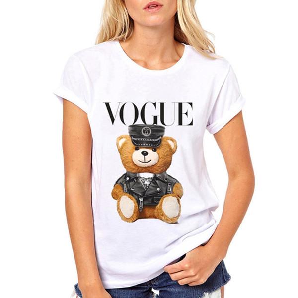 Super T-Shirts Mujeres camiseta linda de la policía Vogue Corea ropa de manga corta T-Ulzzang la historieta para el tamaño chica caliente S-3XL