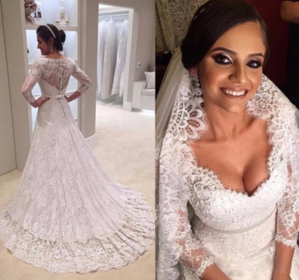 Stunning Champagne Tulle Wedding Dress Beach Appliques A Line Bridal Gown With Illusion Lace Long Sleeves vestido de novia