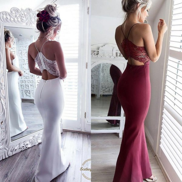 Sexy Straps Burgundy Mermaid Prom Dresses Floor Length Back Lace Cheap Criss Cross Women Long Evening Party Wear Open Back Cocktail Dress