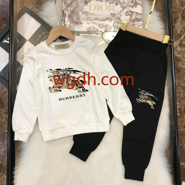 2019 Children S Clothing Boy Long-sleeved Suit New Baby Infant Children S Clothes Two-piece Set 2--9years Old Spring Tide Bear Suit b6697