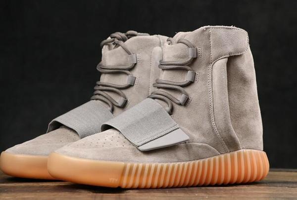 Горячая продажа 750 Sneakers Light Gray] Тройной черный Kanye West кожаные сапоги Мужские Женские Обувь Кроссовки КроссовкиYeezy750 A57