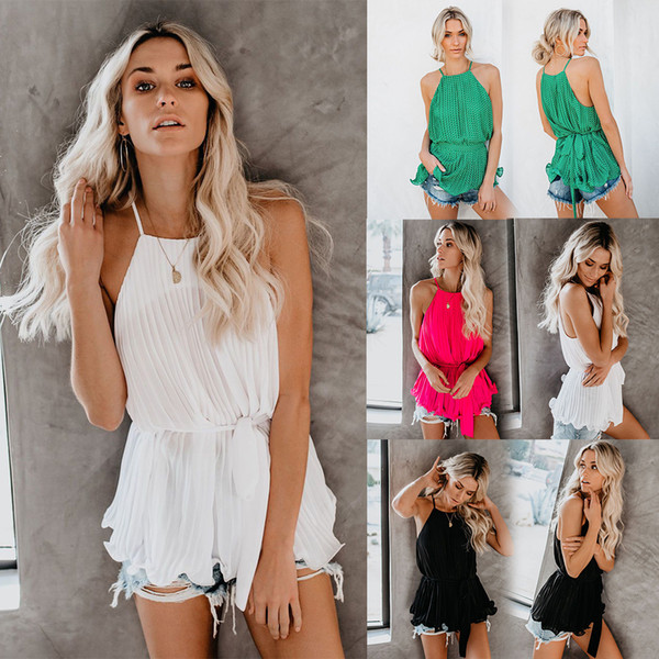 European and American summer leisure Chiffon pure-color one-collar loose-folded waistcoat with suspender in 2019