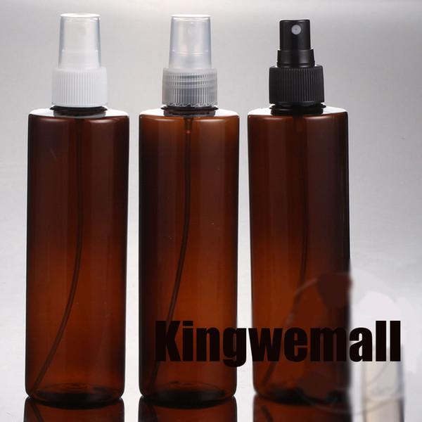 250ml en gros (300pc / lot) des bouteilles de la pompe de pulvérisation ambre ronde en PET vides d'emballage cosmétique en plastique utilisées pour le parfum de l'eau de fleur