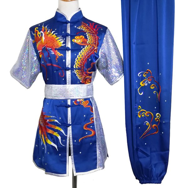 best selling Embroidery Chinese Wushu uniform Kungfu garment taolu outfit Martial arts outfit changquan garment for men women boy girl children ddults