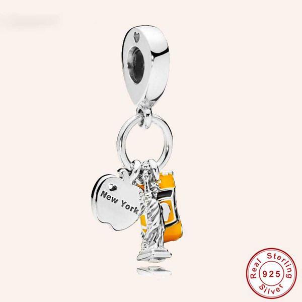 Style de Pandora 100% Argent Sterling 925 Statue de la Liberté de New York City Taxi jaune fit Charm Original Bracelet Perles