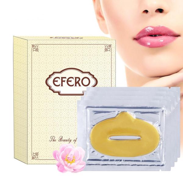 15 Packs / Lot Ouro Máscara de Lábio de Colágeno Membrana Hidratante Lip Máscaras Almofadas Lip Scrub Plump Enhancer Beleza Cuidados Com A Pele Anti-envelhecimento