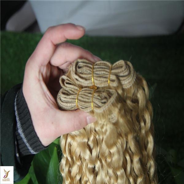 Media Biondi Colore ricci capelli umani Bundles 10-30 pollici brasiliano riccio crespo dei capelli del tessuto Bundles 6a Lordo non-umani di Remy Extensio capelli