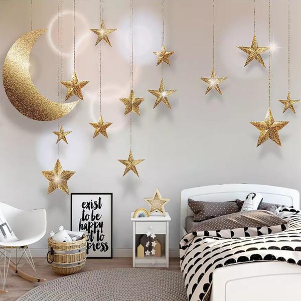 Cartoon Star Moon Galaxy Wallpaper 3D Wall Mural Hand-painted art Creative Kids Bedroom Sofa TV Background Living Room Hotel Wall Decor