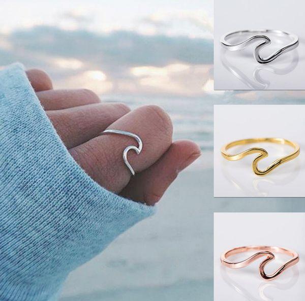 Liga de onda Anel de prata Anel de casamento para mulheres Acessórios de jóias Anel de noivado As mulheres se vestem Anéis de festa Anéis femininos