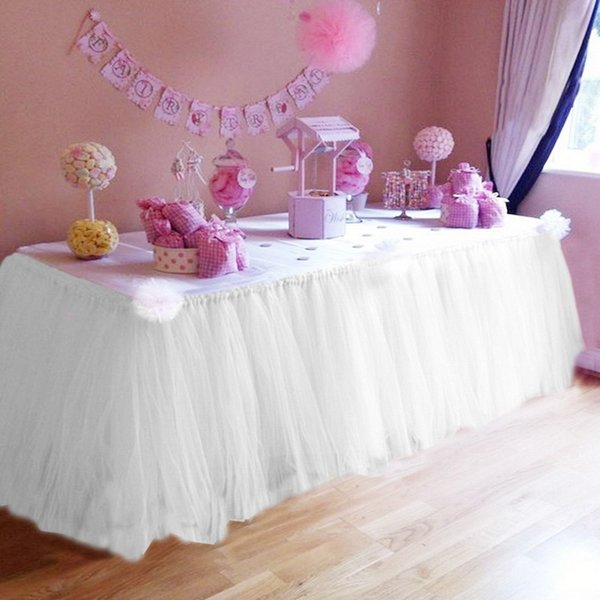 DIDIHOU Multicolor Table Skirt Tableware Cloth For Wedding Decoration Children's Birthday Party Home Table Skirting 100x50CM