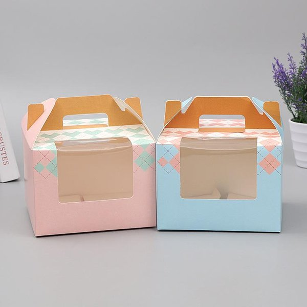 Portable cupcake box with window paper gift box folding pastry packaging box 15.5x15.5x11cm wen6590 20180920#